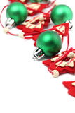 Green and red Christmas decorations Stock Image