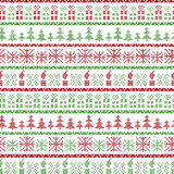 Green and red Christmas Nordic pattern in including Xmas gifts, candles, snowflakes, stars, decorative ornaments in scandinavian. Style knitted cross stitch n royalty free illustration