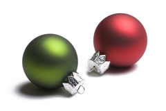 Green and Red Christmas Ornaments on White Royalty Free Stock Images