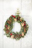 Green and red Christmas wreath Royalty Free Stock Image