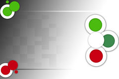 Green and red circles on check, abstrack background Stock Photo