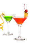 Green Red cocktails composition in martini glass Royalty Free Stock Image