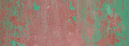 Green red color, painted and faded wall texture grunge background. Banner royalty free stock photo