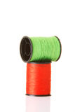 Green and red cotton. Stock Photos