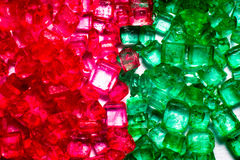Green and red crystal lollies Stock Photo