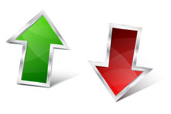 Green and red 3D glossy metal arrow Stock Photos