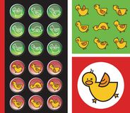 Green and red duckies buttons. And icons - illustration Stock Photo