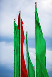 Green and red flags Royalty Free Stock Photo