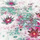 Green and red fractal flowers Stock Image
