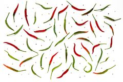 Green and red fresh chilli with pepper corns Royalty Free Stock Image