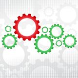 Green and red gears. Big red gear with many green gears Royalty Free Stock Photos