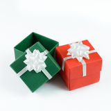 Green and red gift boxes Royalty Free Stock Image