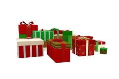 Green red and gold christmas gifts Royalty Free Stock Photos