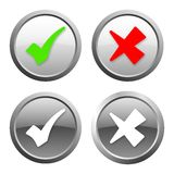 Green, red and gray check mark buttons. With light shadow Royalty Free Stock Photography