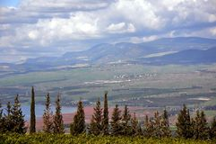 Green, Red, Green, Blue. A view down on the Galilee-sea swamp at its northen end Royalty Free Stock Images