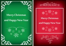 Green and red greeting cards for christmas - vector frames. Green and red greeting cards for christmas  - vector  frames Royalty Free Stock Image