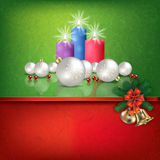 Green red greeting with Christmas decorations. Abstract grunge red green background with Candles and Christmas decorations Royalty Free Stock Photos