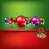 Green red greeting with Christmas decorations. Abstract grunge red green background with hand bells and Christmas decorations Royalty Free Stock Photography
