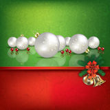 Green red greeting with Christmas decorations. Abstract grunge red green background with hand bells and white Christmas decorations Stock Photos