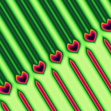 Green and Red Heart Pattern. An abstract pattern done in green and red with a diagonal line of red hearts on a background of green and red stripes vector illustration