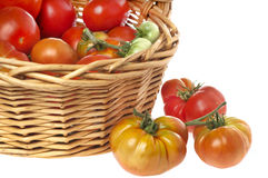 Green and red heirloom tomatoes Stock Photo