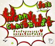Green-red high detail comic font, alphabet. Comics, pop art Stock Photos