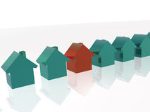 Green and red homes Stock Photography