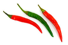 Green and red hot chili pepper Royalty Free Stock Images