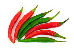 Green and red hot chili pepper Royalty Free Stock Photos
