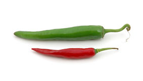 Green and red hot chili peppers Royalty Free Stock Photo