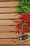 Green and red  hot chili peppers Stock Photography