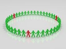 Green and red human circle Stock Photo