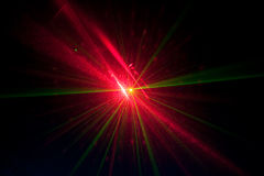 Green and red laser lights. Laser lights from an event Royalty Free Stock Images