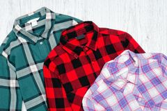 Green, red and lavender plaid shirts. Fashionable concept.  Stock Photography