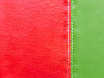 Green and red leather with white stitch Royalty Free Stock Image