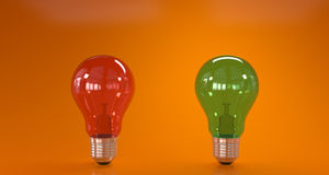 Green and red light bulbs Royalty Free Stock Photo