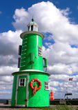 Green and Red Lighthouses. The green and red lighthouse in the harbour of Helsing?enmark Royalty Free Stock Photo