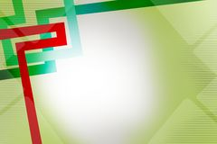 Green and red lines left corner, abstract background Stock Image