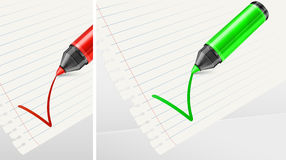 Green and red markers with check mark Royalty Free Stock Photos