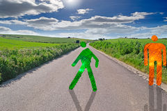 Green and red men crossing the street Royalty Free Stock Photo