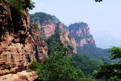 Green & Red Mountain. Zhangshiyan Mountain is located in Shijiazhang, Hebei province, China. It has its unique physiognomy, call Zhangshiyan Physiognomy. The Stock Photo