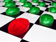 Green and red mouses on checkered background Stock Photo