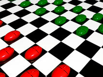 Green and red mouses on checkered background Royalty Free Stock Photography