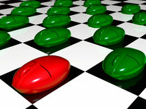 Green and red mouses on checkered background Stock Images
