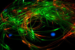 Green and red optical fibre lights Royalty Free Stock Photos