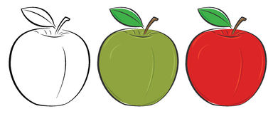 Green, red and outlined apple Stock Photos