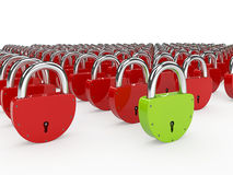 Green and red padlocks Royalty Free Stock Images