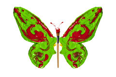 Green red paint made butterfly Royalty Free Stock Photos