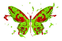 Green red paint splash made butterfly Stock Photo