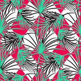 Green and red palm leaves and harlequin rhombs seamless vector pattern. Royalty Free Stock Photo